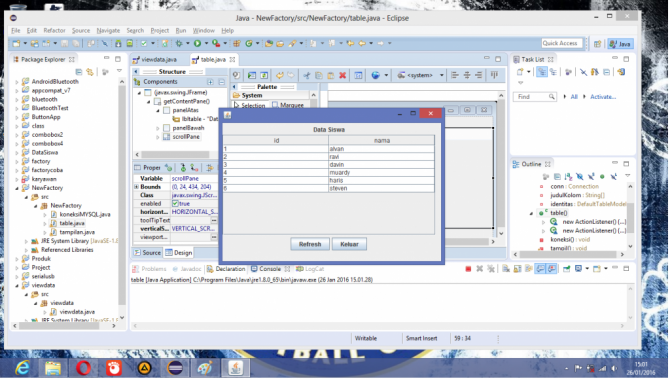 Cara View Database di Table pada Java Eclipse.