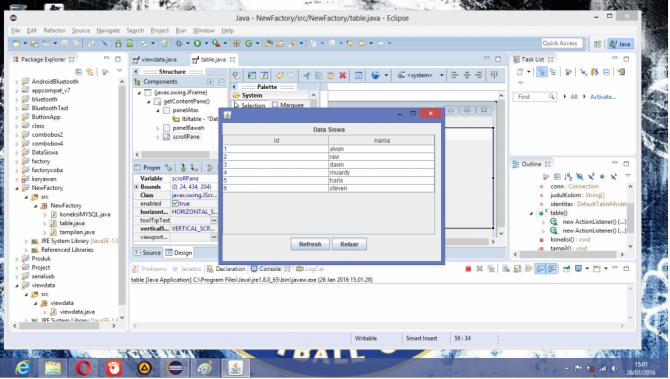 Cara View Database di Table pada Java Eclipse.